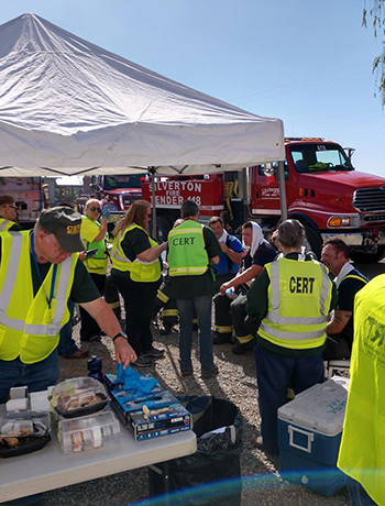 Group of CERT team members working together